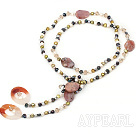Wholesale Long style multi color freshwater pearl and agate necklace