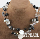 Single strand black and white crystal and shell necklace