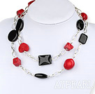 Assorted red coral and black agate necklace with bold metal chain