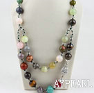 Two layer assorted multi color multi stone and crystal necklace