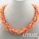 Wholesale Multi Strands Orange Coral Branch Necklace with Magnetic Clasp
