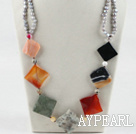 Wholesale chunky style gray pearl multi color stone necklace