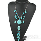 Wholesale gorgeous turquoise Y shape necklace with extendable chain