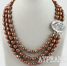 Wholesale three strand brown pearl necklace with beauty clasp