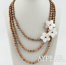 Wholesale multi strand brown pearl white shell flower necklace