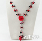 Wholesale coral agate and crystal necklace with flower