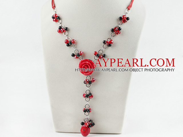 coral agate and crystal necklace with flower