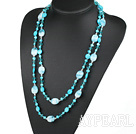 Wholesale 51.2 inches blue pearl crystal and colored glaze necklace