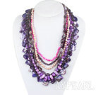 Wholesale Purple Series Multi Strands Purple Freshwater Pearl Crystal and Amethyst and Purple Shell Necklace