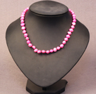 Simple Trendy Style Women Natural Hot Pink Potato Pearl Necklace