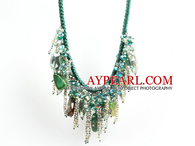 Sparkly Bib Shape Green Series Crystal Agate Statement Party Necklace With Green Thread Woven Drawstring Chain