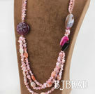 Wholesale Big Design Pink Crystal and Pink Opal Necklace