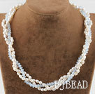 Three Strand White Pearl and Opal Crystal Necklace