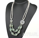 White Pearl och Natural White Crystal och Green Rutilated Quartz Necklace