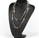 Wholesale Long Style Crystal and Gray Agate Necklace