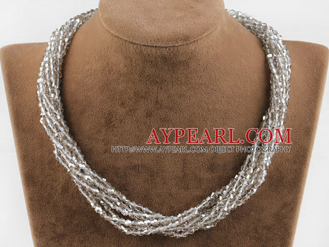Multi Strand Gray Manmade Crystal Necklace with Big Magnetic Clasp