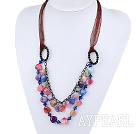 Wonderful Multi Color Burst Pattern Agate Loop Chain Necklace With Dark Red Ribbon