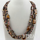 Wholesale Multi Strand Pearl and Tourmaline and Tiger Eye Necklace