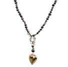 Black Freshwater Pearl Necklace with Heart Shape Metal Pendant