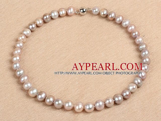 Best Mother Gift Graceful 10-11mm Natural Smooth Purple Pearl Party Necklace
