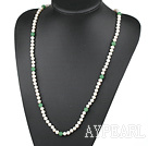 Wholesale Long Style White Freshwater Pearl and Aventurine Beaded Necklace