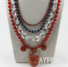 New Design Multi Layer Pearl Crystal and Agate Party Necklace