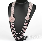 Wholesale Big Design Multi Strand Rose Quartz Necklace