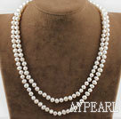 Wholesale Two Strands Natural White Freshwater Pearl Bridal Necklace