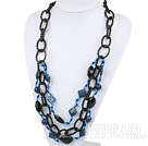 Wholesale Three Layer Lapis and Crystal Necklace
