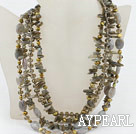 Wholesale Multi Strand Pearl Crystal and Flashing Stone Necklace