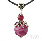 Wholesale Classic Design Rose Red Agate Pendant Necklace with Adjustable Chain