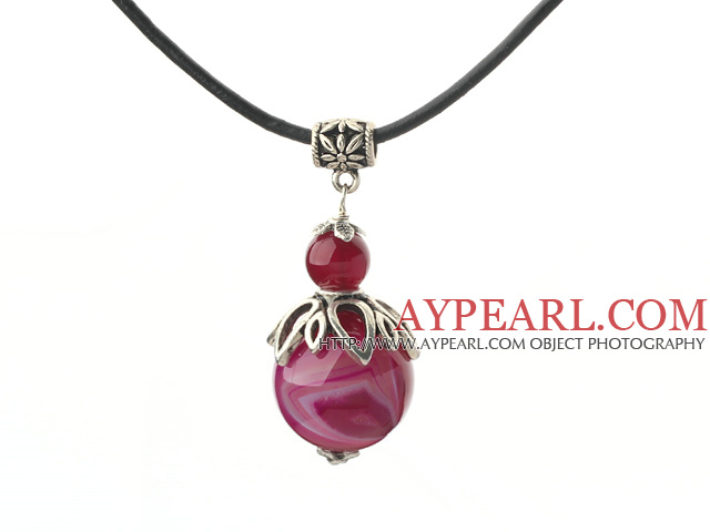 Classic Design Rose Red Agate Pendant Necklace with Adjustable Chain