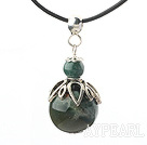 Wholesale Classic Design Indian Agate Pendant Necklace with Adjustable Chain