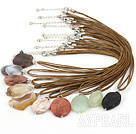 Lovely 10Pcs Multi Color Gemstone Necklace Pendant Necklaces With Brown Cords