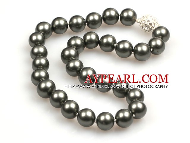 14mm Gray Black Color Round Sea Shell Beaded Necklace with Magnetic Clasp
