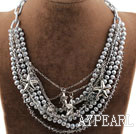 Multi Layer Gray Freshwater Pearl Crystal Necklace with Metal Chain and Charms