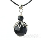 Classic Design Faceted Black Agate Pendant Necklace with Adjustable Chain