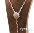 Natural Pink Freshwater Pearl and Shell Flower Y Shape Necklace