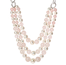 Wholesale Fashion Style Three Layer Rose Quartz and White Shell Beads Necklace