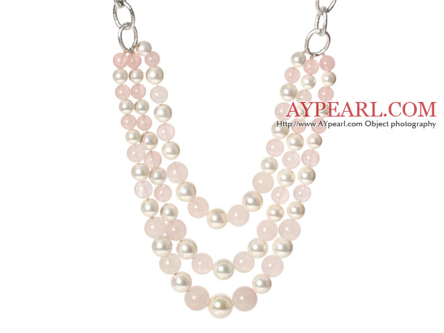 Fashion Style Three Layer Rose Quartz and White Shell Beads Necklace