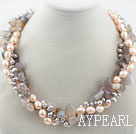 Assorted Freshwater Pearl and Gray Agate Necklace