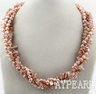 Wholesale Long Style Two Strands Pink Freshwater Pearl and Sun Stone Necklace ( No Clasp)