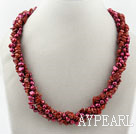 Lang stil To Strands Rød ferskvannsperle og Red Jasper Necklace (No Clasp)
