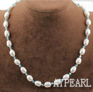 Wholesale Single Strand White Freshwater Pearl and Lake Blue Crystal Necklace