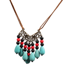Wholesale Black Agate and Water Drop Shape Turquoise Necklace