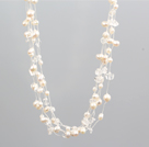 Wholesale Single Strand Natural Pink Freshwater Pearl and Black Crystal Necklace