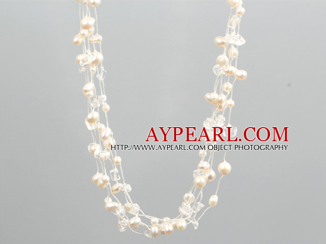 Single Strand Natural Pink Freshwater Pearl and Black Crystal Necklace