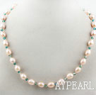Wholesale Single Strand Natural Pink Freshwater Pearl and Green Crystal Necklace