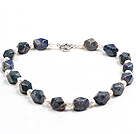 Simple Single Strand Natural White Freshwater Pearl Sodalite Necklace with Moonlight Clasp