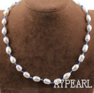 Wholesale Single Strand White Freshwater Pearl and Sky Blue Crystal Necklace